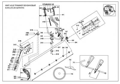 бензотриммер watt WMT 43LB