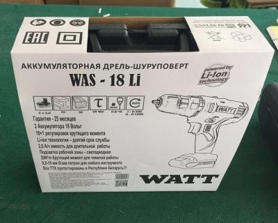 Дрель шуруповерт аккумуляторная Watt Was-18 Li