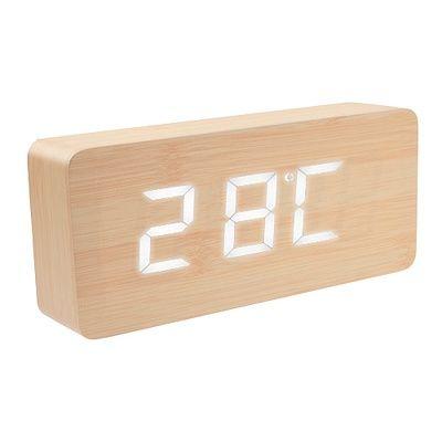 Деревянный светодиодный будильник