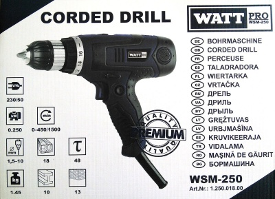 Электрическая дрель-шуруповерт Watt Pro WSM-550