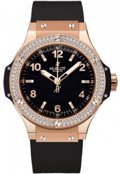 Часы наручные женские HUBLOT BIG BANG 38 GOLD DIAMONDS реплика
