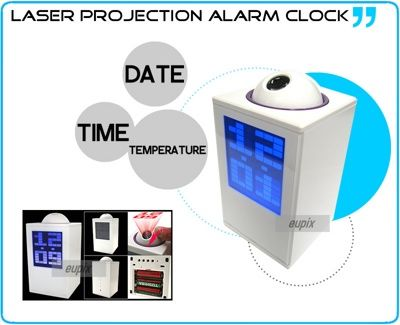 Часы проектор будильник термометр Led Laser Clock белые